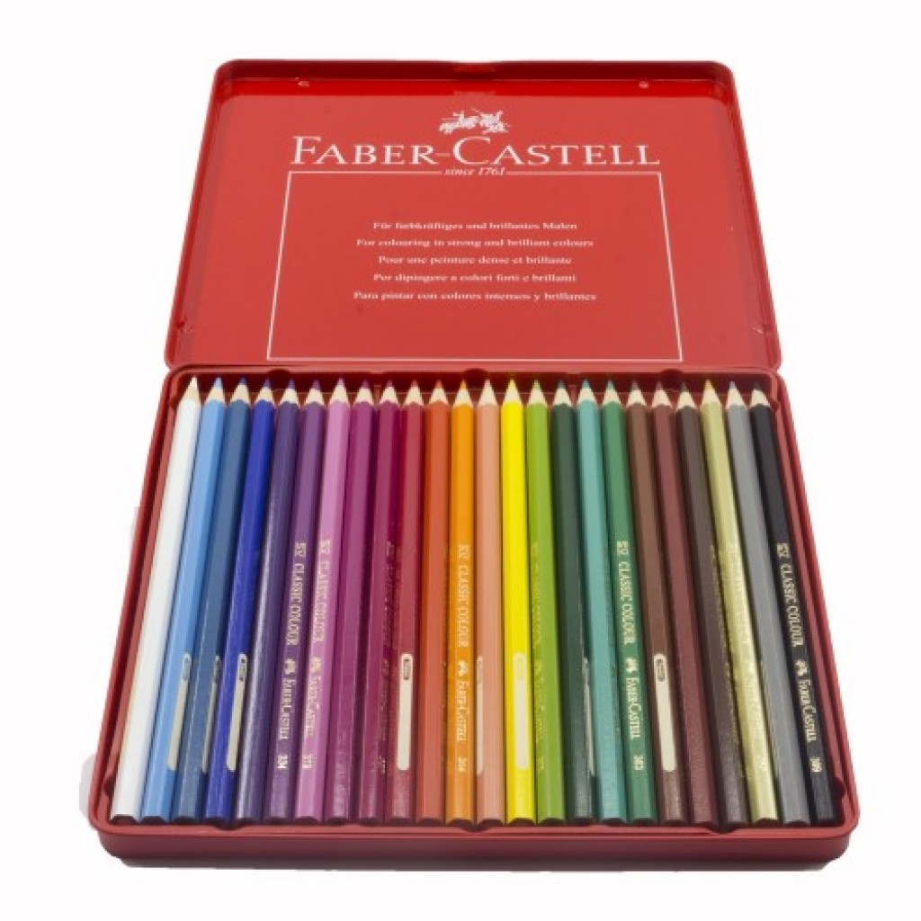 buy online faber-castell metal tin 24 color classic line
