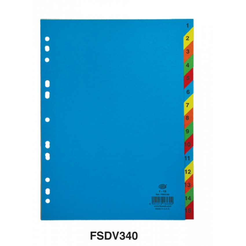 Divider Paper (1-15) A4 Colour with number
