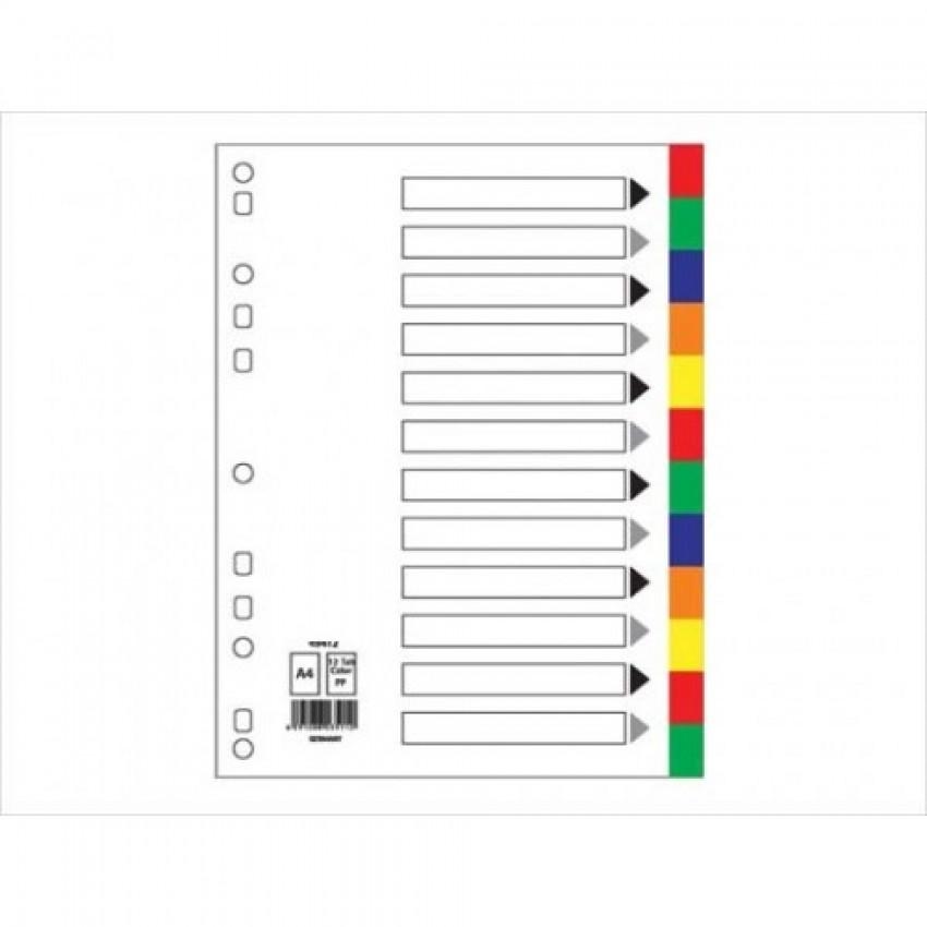 Divider 12 Colour Pvc A4