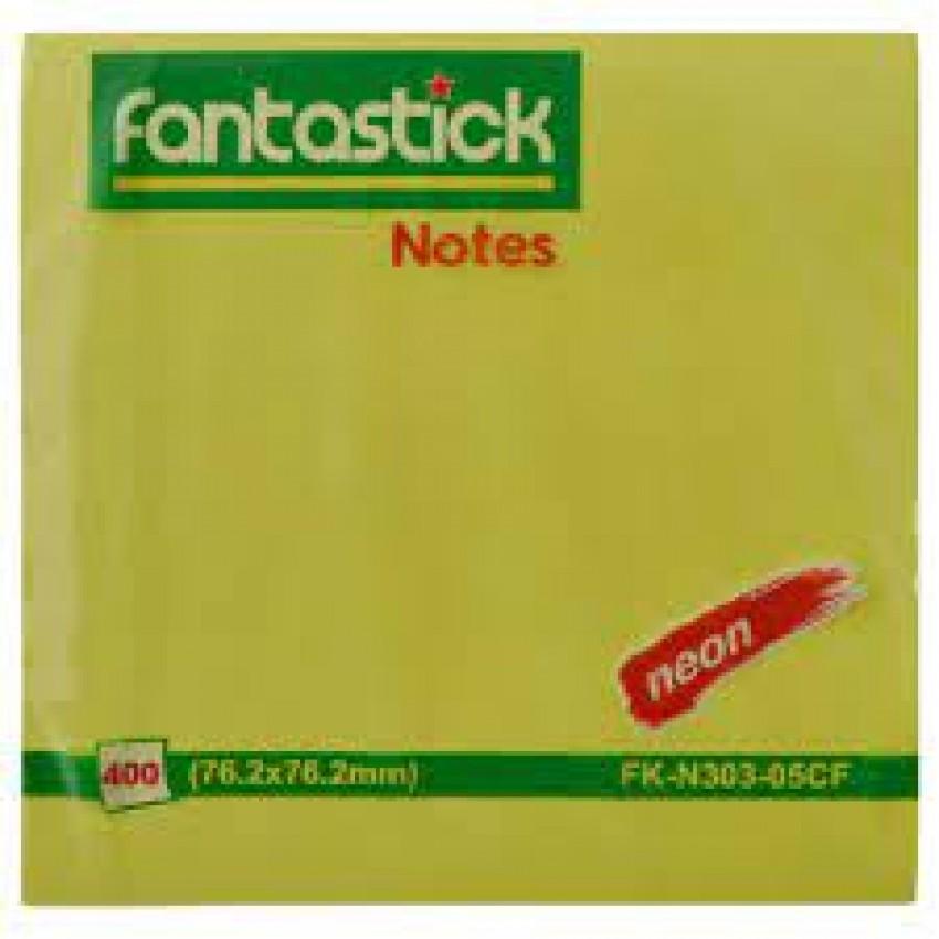 Fantastick Sticky Notes Fluorecent. Leaf Blister Pack Green