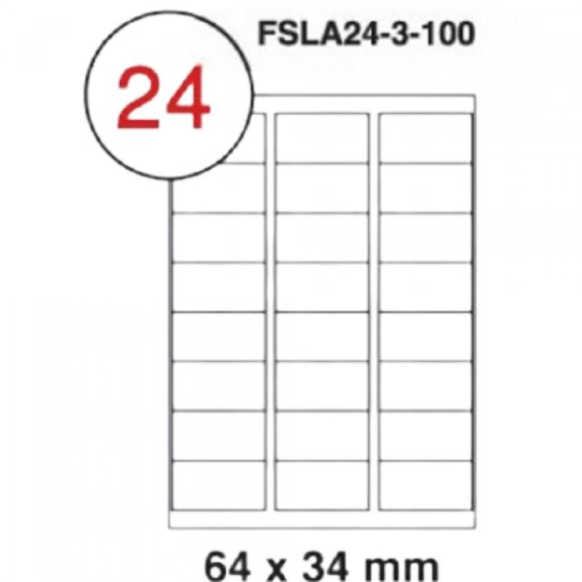 MULTI PURPOSE WHITE LABEL-64X34mm-FSLA24-3-100