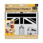 Folkart ED ROTH STENCIL LONDON SET 12 X 12