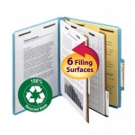 """""""SMEAD 100% RECYCLED PRESSBOARD CLASSIFICATION FILE FOLDER 2 DIVIDERS 2 INCH EXPANSION BLUE"""""""