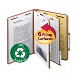 """""""SMEAD 100% RECYCLED PRESSBOARD CLASSIFICATION FILE FOLDER 2 DIVIDERS 2INCH EXPANSION RED"""""""