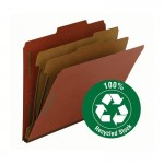 """""""SMEAD 100% RECYCLED PRESSBOARD CLASSIFICATION FOLDER 2 DIVIDERS 2 INCH EXPANSION RED"""""""