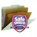 """SMEAD PRESSBOARD CLASSIFICATION FOLDER WITH SAFE SHIELD® FASTENERS 2 DIVIDERS 2 INCH EXPANSION GREEN"""
