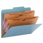 """SMEAD PRESSBOARD CLASSIFICATION FOLDER WITH POCKET DIVIDER AND SAFE SHIELD® FASTENERS 2 DIVIDERS 2 INCH EXPANSION BLUE"""