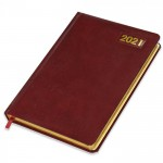 FIS A5 Diary 2021 (English) Golden Bonded Leather, Maroon