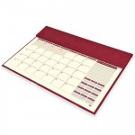 FIS Year Planner 2021 (English/French) Italian PU Desk Blotter, Maroon