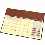 FIS Year Planner 2022 (English/French) with PVC Desk Blotter and Italian PU Flap, Brown