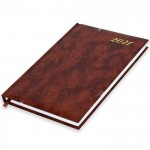 FIS A5 Diary 2021 English (Friday & Saturday Combined) Vinyl, 1 Side Padded, Brown