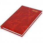 FIS A5 Diary 2021 English (Friday & Saturday Combined) Vinyl, 1 Side Padded, Red