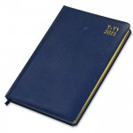 FIS Golden Diary 2021 A5 Vinyl (Arabic/English) 1 Side Padded, Round Corner Blue