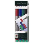 FABER-CASTELL Multimark Fine F 0.6mm Non-Permanent Wallet of 4