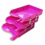 Document Tray 3tier Pink Plastic