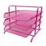 Document Tray 3tier Wiremesh Pink