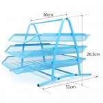 Document Tray 3tier Wiremesh Blue