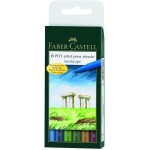 "FABER-CASTELL PITT Artist Drawing Ink Pen ""Landscape colors"" Wallet of 6"