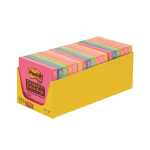 Post-it Super Sticky Notes Assorted Colors  654-SSMPDQ. 3 x 3 in (76 mm x 76 mm). 90 sheets/pad, 18 pads/tray,