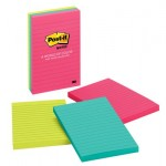 Post-it? Notes Neon Colors 660-3AN. 4 x 6 in (101 mm x 152 mm), 100 sheets/pad, 3 pads/pack. Lined