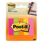 Post-it Page Markers 670-5AN. 0.5 x 1.75 in (12,7 mm x 44,4 mm). Assorted Colors, 5 colors/pack