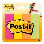 Post-it Page Marker 671-4AF. 7/8 x 2 7/8 in x (22,2 mm x 73 mm). Assorted Colors, 4 colors/pack