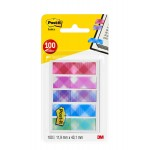 """Post-it Flags """"Printed"""" 684-PLD5-EU in OTG dispenser. 1/2 x 1.7 in (11.9 mm x 43.2 mm), 20 flags/color, 5 colors/pack"""