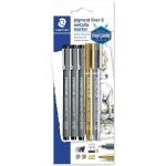 Staedtler Pigment liner Metalic Colors 3Fineliner,1Gold,1Silver Set of 5