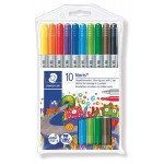 Staedtler 320-NWP10 Fibre tip pens with 2 tips Pack of 10
