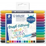 Staedtler 3004 TB12 Double tip Hand Lettering (Fine Tip and Brush Tip) Pack of 12