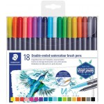 Staedtler 3001 TB18 Marsgraphic Double Ended Watercolor Brush Markers 18/Pkg