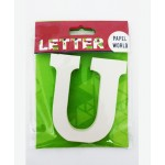 """Wooden Letters White """"U"""""""