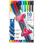 Staedtler 334 Triplus Fineliner Pack of 10 with 3 Colors Promotional Pack