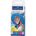 "FABER-CASTELL PITT Artist Pen ""Shojo"" Manga Wallet of 6 Colors"