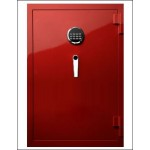 SHINJIN VOGO SAFES FIRE RESISTANT SAFE, MODEL VGF-935 SIGNAL RED WITH ELECTRONIC LOCK