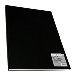 Daler Rowney Ebony Hardback Portrait Sketchbook White paper 48sht unperforated 150gsm acid free A3