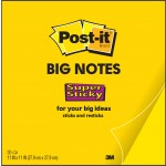 Post-it Super Sticky Big Note BN11, Yellow Notes in XL size, 11 x 11 in (279 x 279mm), 30 sheets/pad