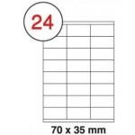 Formtec Labels 70x35mm 24 Labels Per Sheet Box of 100 Sheets