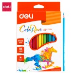 Deli Plastic Colored Pencil Triangle Bright 18C