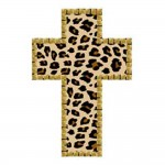 FABRIC IRON ON - LEOPARD CROSS W/NAILHEADS