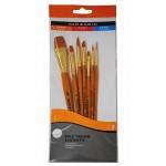 Daler Rowney Simply Set Brush Wallets Short Handle Gold Taklon Brush St 7Pc Sh