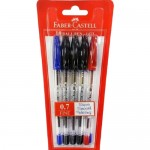FABER-CASTELL Ball Point Pen 0.7mm Assorted Blister of 5pc (3B 1BL 1R)
