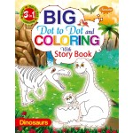 SAWAN - 3 IN 1 BIG DOT TO DOT & COLOURING WITH STORY - DINOSAURS