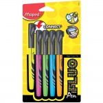 MAPED FLUO PEPS PENS ASSORTED COLORS, PACK OF 4