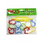 Kiddy Clay 10 small Plastic Molds With 1Roller