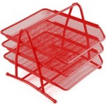 Document Tray 3tier Wiremesh Red