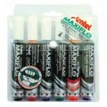 Pentel MWL6 Maxiflo White Boar Marker Chisel Value Pack of 6 Pcs