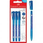 FABER-CASTELL CX Ball Pen .07mm 3pc Blister (Blue)-246806
