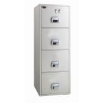 EGLSF6804TKX Fire Resistant 4 Drawer Filing cabinet with castor RAL 9002