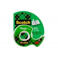 Scotch Magic Tape in Dispenser 104. 1/2 x 450 in (12mm x 11.43m). 1 roll/dispenser